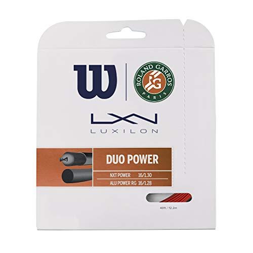 Luxilon Duo Power Roland Garros Juego de cordaje para raqueta de Tenis, Combinación de ALU Power RG y NXT Power, Unisex Adulto, Rojo/Natural