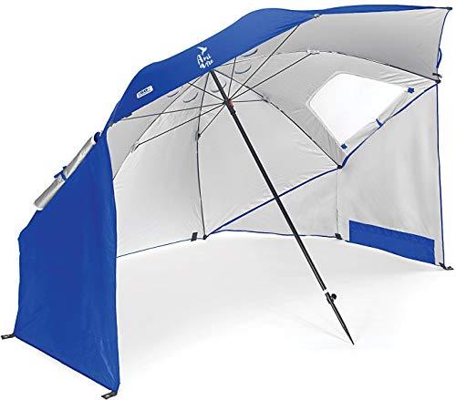 Amiaire Sombrilla de Playa - Sombrilla de Playa Grande 254 cm – 3 Posiciones - Protección UV, antiviento y Transpirable de Aluminio- Incluye Bolsa de Viaje (Azul)