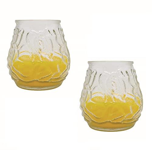 RAM ONLINE 2 velas de jardín Citronella Insense repelente de insectos para césped Pation velas de té, amarillo, 36