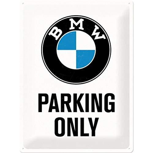 Nostalgic-Art BMW Parking Only White Placa Decorativa, Metal, Multicolor, 30 x 40 cm