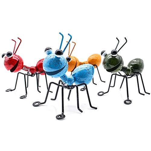 YiYa Hormiga de Metal un Grupo de 4 Insectos Lindos Coloridos para Colgar Arte de la Pared decoración de césped de jardín esculturas de Pared de Interior al Aire Libre