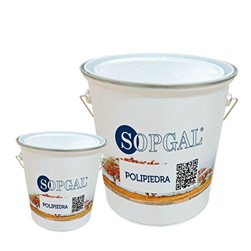 Polipiedra Sopgal: revestimiento impermeable decorativo para interior y exterior- Acabado'Gris Porriño' (20 kgs + 5 kg)