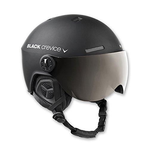 BLACK CREVICE Casco de esquí Gstaad I Casco de esquí con Visera I para Hombres y Mujeres I Casco de ski de policarbonato I Casco Transpirable I Talla Ajustable (Negro, M/L)