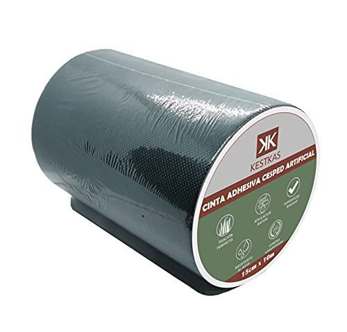 KESTKAS Cinta para Césped Artificial 15cm x 10m Cinta de Union - Cinta Adhesiva para Cesped Sintético Fijación - Resistente - Exterior - Jardin - No Deja Residuos - Fácil de Usar