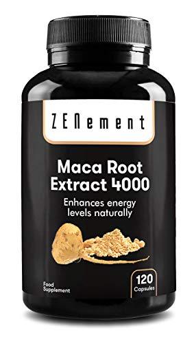 Maca Andina, altamente concentrada 4000mg, 120 cápsulas   Mejora los niveles de energía, resistencia, rendimiento atlético, memoria, libido, sistema inmunitario y equilibrio hormonal   100% Natural