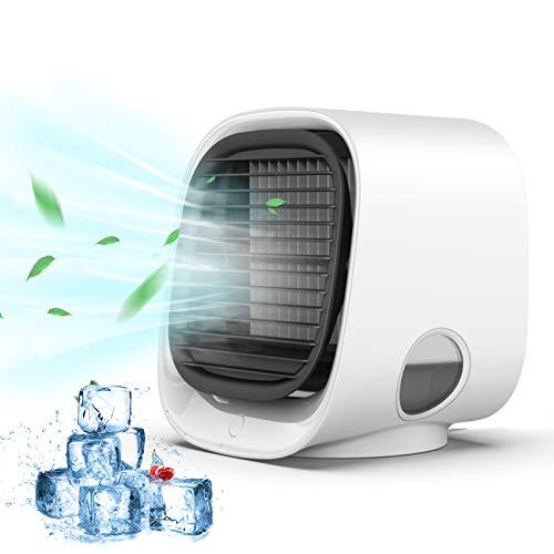 Air Acondicionado Portátil, Anweller Air cooler 4 en 1, Enfriador de Aire Móvil con Luz Nocturna, Ventilador con Tanque de Agua Grande de 300ml, Mini Humidificador para Hogar,Oficina, Camping,etc