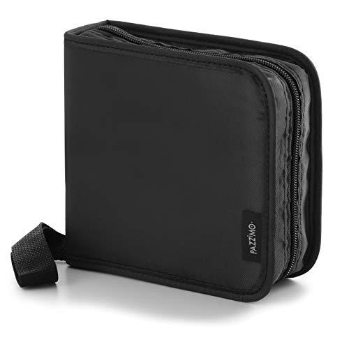 Pazzimo Porta CD para 40 Discos de DVD/CD/BLU-Ray - Estuche Organizador transportable para Guardar CDs con Fundas Protectoras - Negro