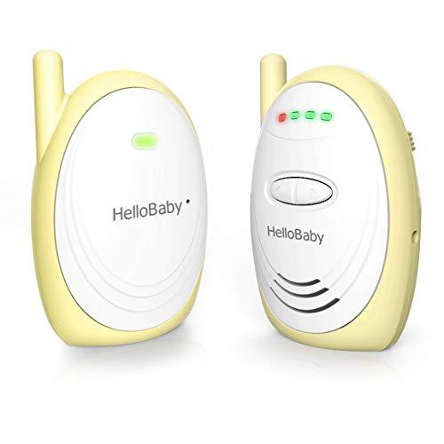 Monitor de bebé de audio,HelloBaby HB168 de hasta 300 m con sonido digital HD, indicador de nivel de ruido (amarillo)