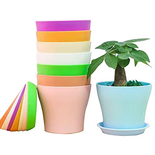 8 PCS Macetas de Plástico, Macetas de Vivero con Bandeja Inferior y Agujeros de Drenaje para Flores, Jardín, Salón, Hierbas, Balcón, Macetas de Plantas de Interior y de Exterior para Hogar (14_cm)