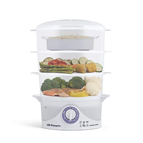 Orbegozo CO 4015 - Vaporera eléctrica, libre de BPA, 3 recipientes apilables incluyendo uno especial para arroz, temporizador hasta 60 minutos con parada automática, 800 W de potencia