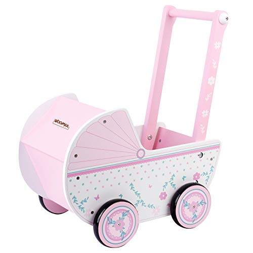 WOOMAX - Carrito de madera para muñecas 26,5x39x46 cm, rosa y blanco, con ruedas, para muñecos de 30-40, carrito bebe juguetes 3 años, cochecitos para muñecos (46475)