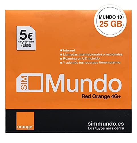 Orange Spain - Tarjeta SIM Prepago 25 GB en España | 5€ de saldo | 5.000 Minutos Nacionales | 50 Minutos internacionales | Activación Online Solo en www.marcopolomobile.com