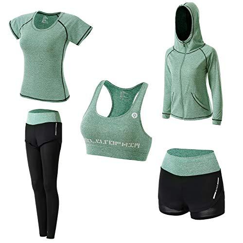 5 Piezas Conjuntos Deportivos para Mujer Yoga Fitness Deporte Chándales Ropa Deportiva Mujer Ropa de Correr Conjunto de Gimnasio Ejercicio Carrera Entrenamiento Transpirable Cómodo