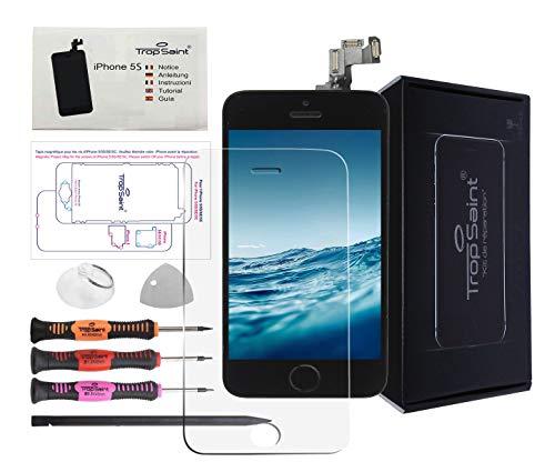 Trop Saint Pantalla Negro para iPhone 5C - Kit de reparación LCD Completo - con Guía 5 lenguas, Film Protector Pantalla y Herramientas