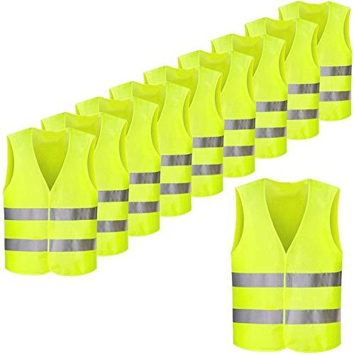 Femor Chalecos Reflectantes de Seguridad de Alta Visibilidad XXXL,Multifuncional Resistente,de Color Amarillo,63 x 58 cm(10/20/50 unidades)
