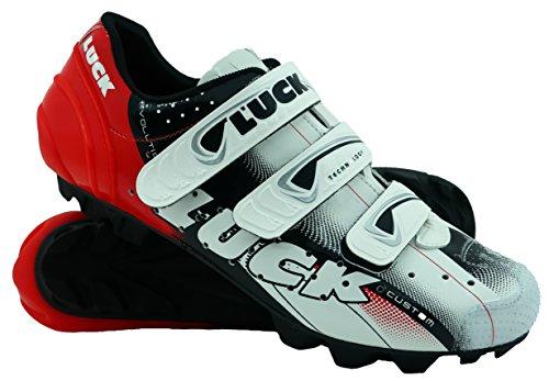 LUCK Zapatillas de Ciclismo Extreme 3.0 MTB,con Suela de Carbono y Triple Tira de Velcro de sujeción ademas de Puntera de Refuerzo. (43 EU, Rojo)