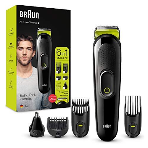 Braun Recortadora MGK3221 6 en 1, Máquina recortadora de barba, cortapelos, recortadora facial, para nariz y orejas para hombre, color verde eléctrico, Maquina cortar pelo