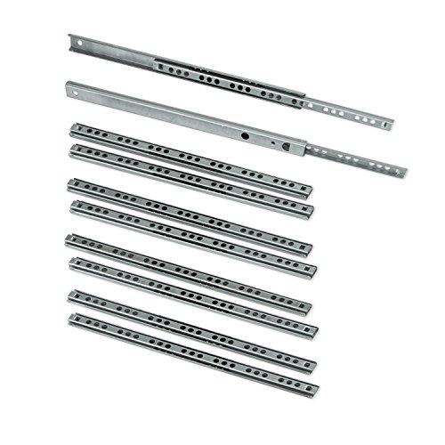 EMUCA Guías Laterales para cajones con rodamiento de Bolas 17mm x 246mm, extracción Parcial, Pack de 5 guías