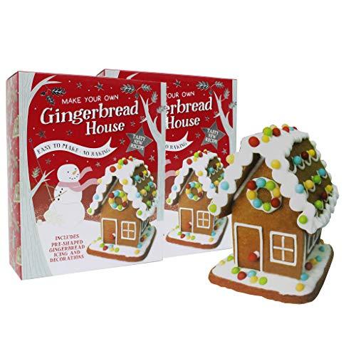 Juego de 2 unidades de casa de pan de jengibre de Navidad, fácil de hacer, sin hornear, con glaseado y decoraciones, diversión para hornear para toda la familia.