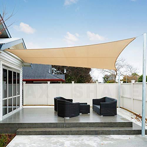 AXT SHADE Toldo Vela de Sombra Rectangular 3 x 4 m, protección Rayos UV Impermeable para Patio, Exteriores, Jardín, Color Arena