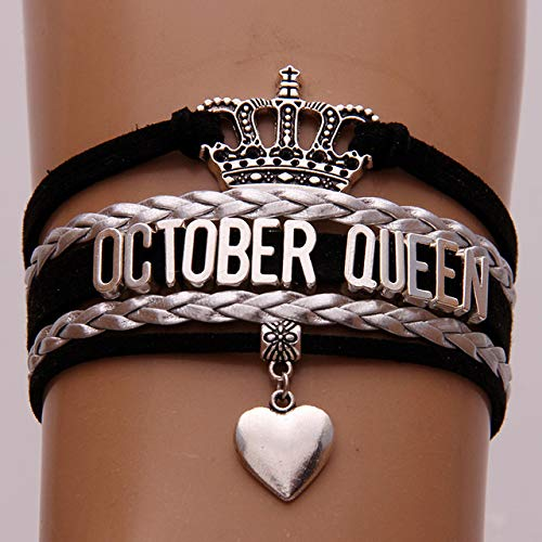 SDFASV Infinity Love October Queen Bracelets Wrap Rope Black Silver Braid 12 Months Queen Bracelet & Bangles Crown Heart Charm Jewelry Octubre