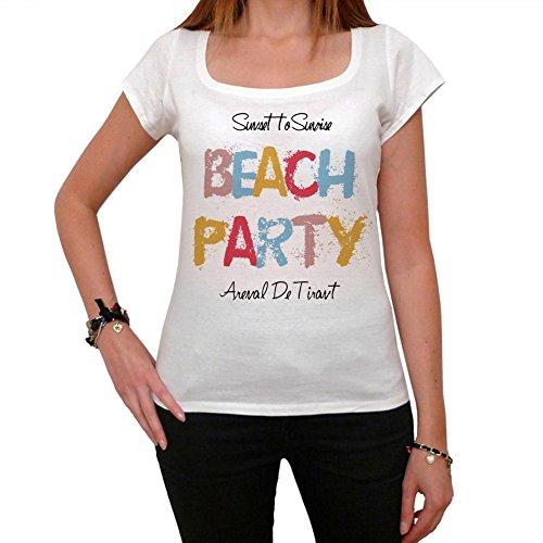 Arenal De Tirant Beach Party, La Camiseta de Las Mujeres, Manga Corta, Cuello Redondo, Blanco