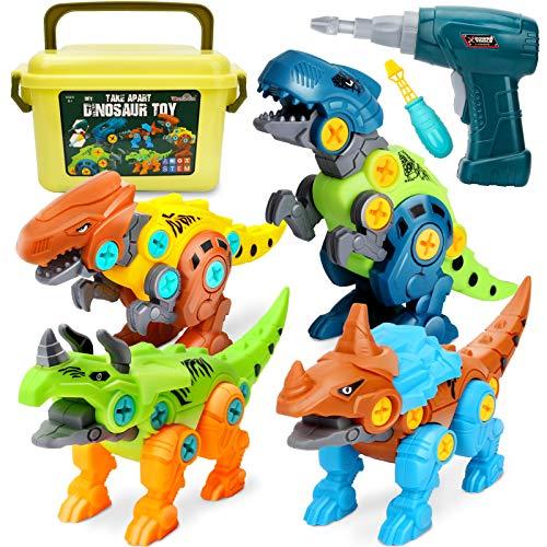 Dreamon Dinosaurios Juguetes para Niños con Caja de Almacenamiento Taladro Eléctrico, Construccion Juguete Dducativos Regalos para Niños Niñas