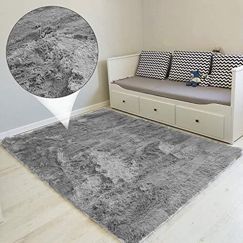 Alfombras Salon Grandes 120 x 160 cm - Pelo Largo Alfombra Habitación Dormitorio Lavables Comedor Moderna Vivero Gris Claro