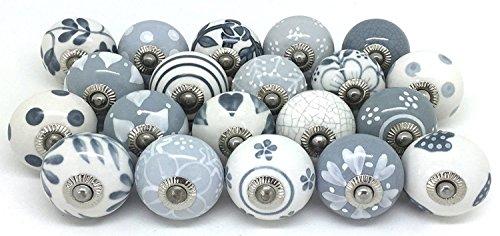 PUSHPACRAFTS - Pomo para armario o cajón, de cerámica, pintado a mano, 20 unidades, color gris y blanco