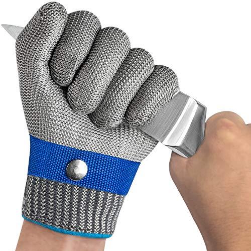 OKAWADACH Guantes Anticorte, Nivel 5 Guante Carnicero Malla Acero Protección Guante de Trabajo de Seguridad Guante Guante de Metal Guante de Acero Inoxidable Guantes Anti-corte (XL*1)