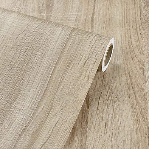 Papel tapiz autoadhesivo de papel de imitación de madera clara de vinilo para muebles de cocina, armarios, estantes, tocador, cajón, armario, armario, calcomanía 40CMX3M
