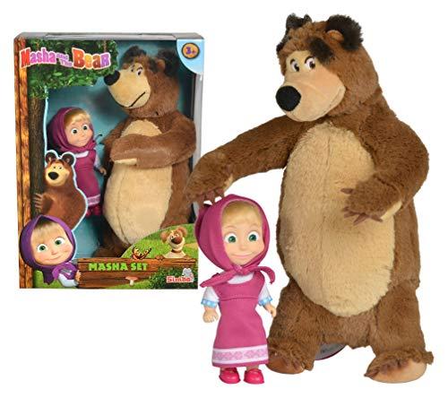 Simba- Muñeca de Masha 12cm con Peluche Oso 25cm 9301072 and The Bear, Multicolor
