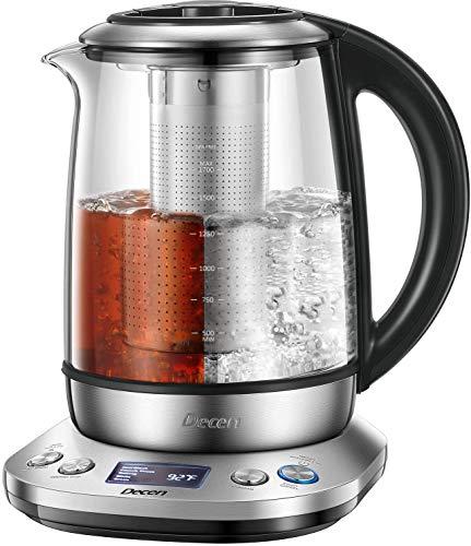 Decen Hervidor de Agua Eléctrico con Temperatura Ajustable, Tetera Eléctrica de 1.7L con Filtro de Acero Inoxidable para el té, Manténgase Caliente por 120 minutos, Apagado Automático