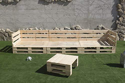 Conjunto Sofa PALETS Europeo 3,6m Mesa, Interior/Exterior Nuevo A ESTRENAR AL Natural