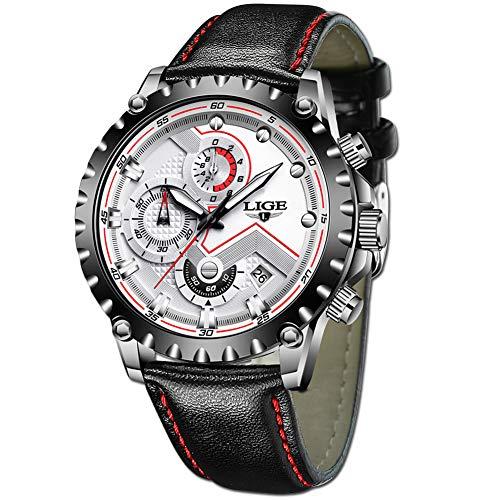 LIGE Relojes Hombres Clásico Blanco Analógico Cuarzo Relojes Hombres Moda Negro Cuero Relojes