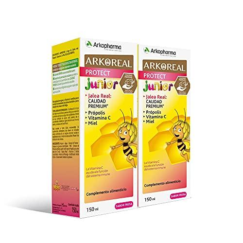 Arkoreal Jarabe Protect Niños BIO 140ml Pack x2 | Jalea Real, Própolis, Vitamina C, Acerola y Miel | Aumenta y Refuerza Defensas |Cansancio | Complemento Alimenticio