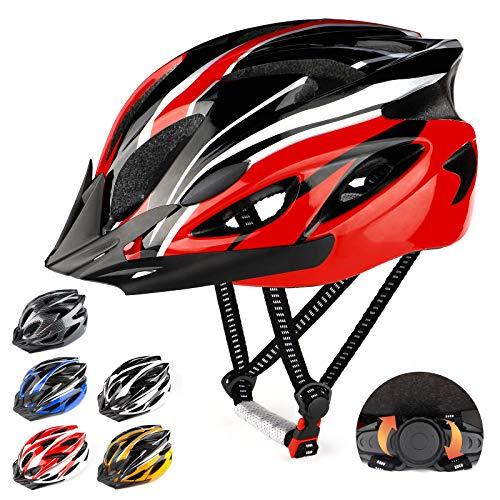 RaMokey Casco de Bicicleta Ligero, Ajustable para Bicicleta de montaña y Carretera para Adultos, 18 respiraderos con Correa Ajustable y Visera Desmontable para (Rojo+Negro)