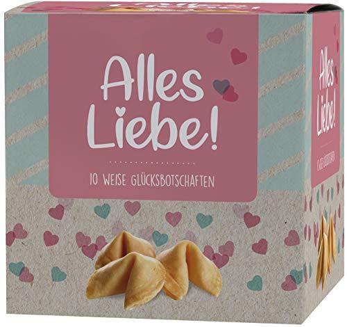 Ni Hao Galletas de la suerte 'Alles Liebe' en una bonita caja de 10 unidades con galletas empaquetadas individualmente y diferentes frases – Fabricado en Alemania