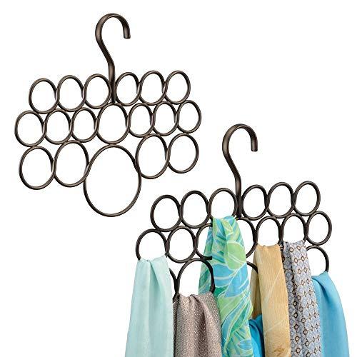 mDesign Percha para pañuelos - Juego de 2 unidades - Organizador de pañuelos, chales, bufandas y más - Organizador de armarios para accesorios con 18 prácticos aros - Color: bronce