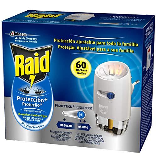 Raid Eléctrico Líquido Protección+ 60 noches - Enchufe anti mosquitos comunes y tigre con difusor regulable. Incluye aplicador y recambio