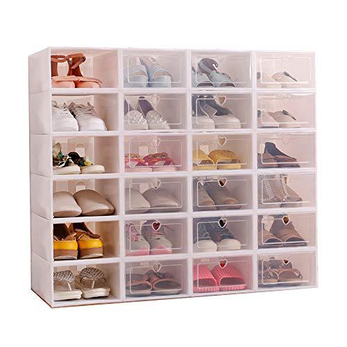 Sinbide 12 x Cajas de Zapatos Plástico, Caja Guardar Zapatos, Calcetines, Juguetes, Cinturones para la Organización de Hogar, Oficina, Plegable, 31cm*21cm*12cm (Blanco, 12)