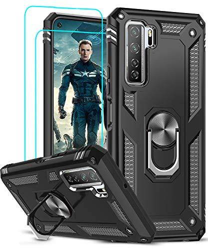 LeYi Funda Huawei P40 Lite 5G con [2-Unidades] Cristal Vidrio Templado,Armor Carcasa con 360 Grados Anillo iman Soporte Hard PC y Silicona TPU Bumper Antigolpes Case para Movil P40 Lite 5G,Negro