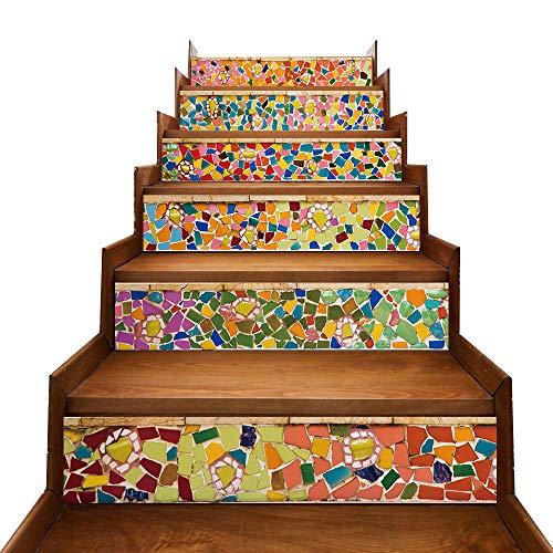 Magiin 6pcs Pegatinas Adhesivos Autoadhesivos para Escaleras Cocina Piso Baño Simulación Decoración de Pared Hogar Impermeable Extraíble Etiqueta de Pared 18x100cm (Azulejos de Colores)