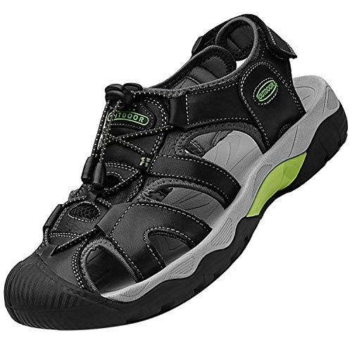 Topwolve Sandalias Deportivas para Hombre Verano Exterior Senderismo Zapatos Transpirable Peso Ligero Cuero Sandalias de Playa Trekking Casual Antideslizantes Zapatos de Montaña,Negro,43 EU