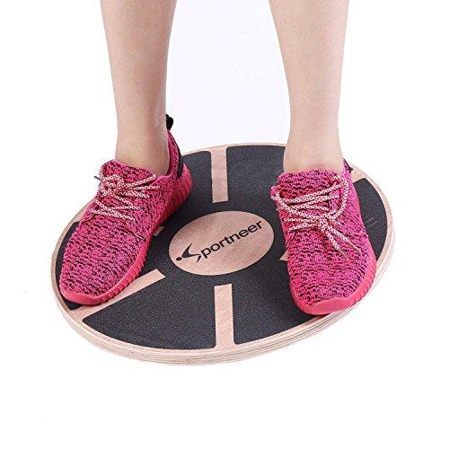 Sportneer - Plataforma de Equilibrio Profesional de Madera para Ejercicio físico(Negro) 1PACK
