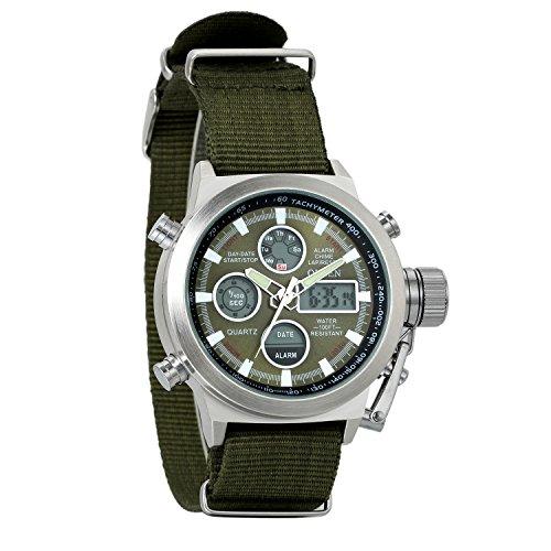 Avaner Grande Reloj de Hombre Militar Deportivo Reloj de Pulsera Verde Negra, Multifuncional Correa de Nylon Silicona Reloj de Piloto 2 Zonas de Horarios, Impermeable 3ATM Regalos dia del padre origin