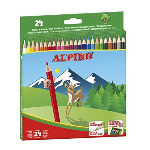 Lapices de Colores Alpino - Estuche de lápices de madera 24 unidades - Lapices para Niños y Adultos - Forma Hexagonal, Bandeja Extraible, Mina Resistente 3mm