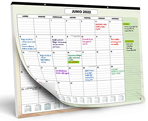 Calendario de Pared 2021 2022 de SmartPanda – Calendario Mensual de Sobremesa – Julio 2021 a Diciembre de 2022 – Vista de un Mes – 33 cm x 43 cm