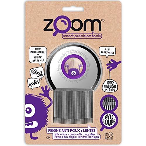 ZOOM Peine para Piojos - Elimina Liendres y Huevos - Cepillo de Metal con Lupa Amplificadora y Puntas Redondas - Productos Para El Cuidado Del Cuero Cabelludo - Liendrera Tratamiento No Químico