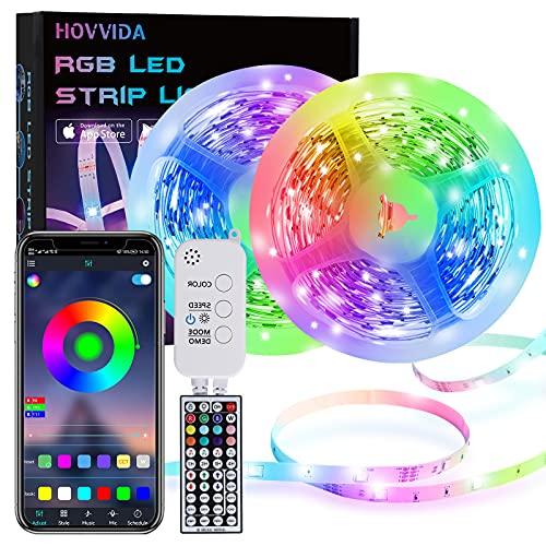 15M Tiras LED RGB 5050 Música, HOVVIDA Bluetooth Luces de Tiras LED 12V para Habitación, Controladas por APP, IR Control Remoto y Controlador, 16 Milliones de Colores, 28 Estilos, Modo de Horario
